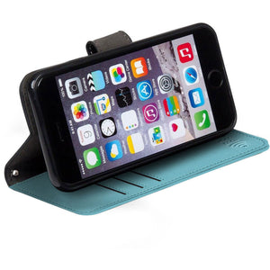 turquoise iPhone 6 Plus, 7 Plus & 8 Plus RFID blocking wallet with stand