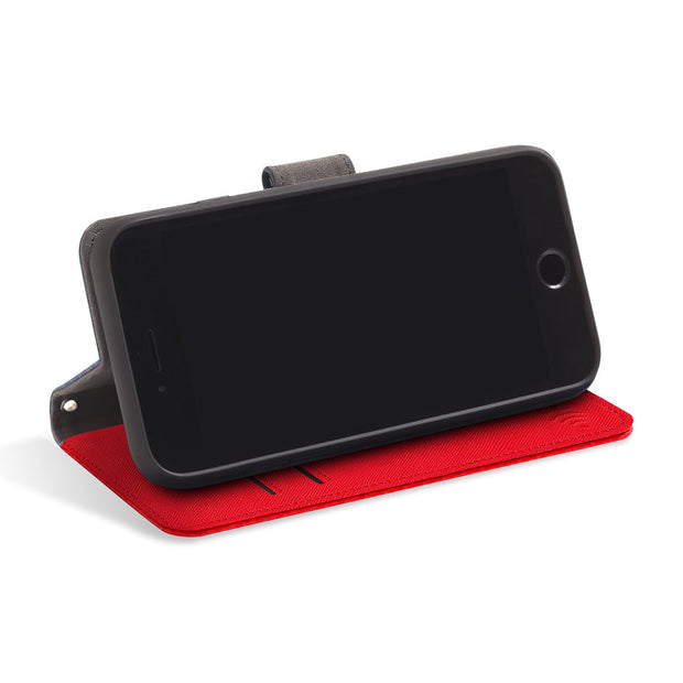 red RFID blocking wallet case for iPhone SE, 5, and 5s with stand