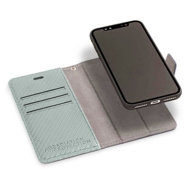Grey RFID blocking wallet Detachable for iPhone 11