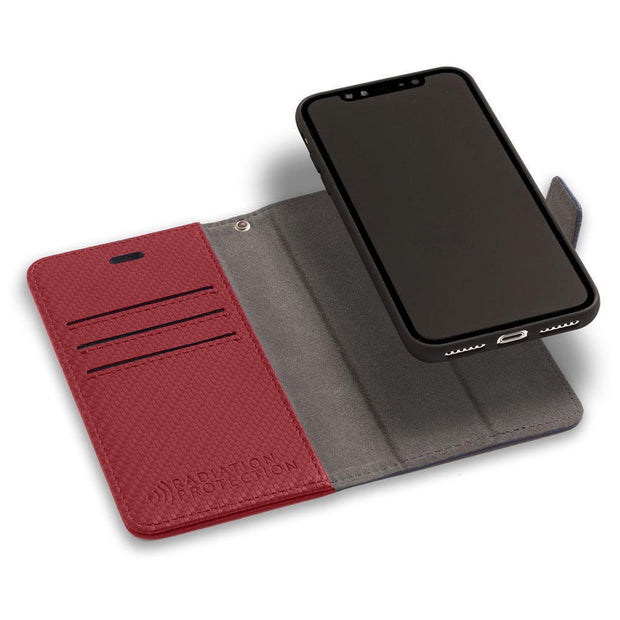 Red Anti-Radiation and RFID Blocking Detachable Wallet Case