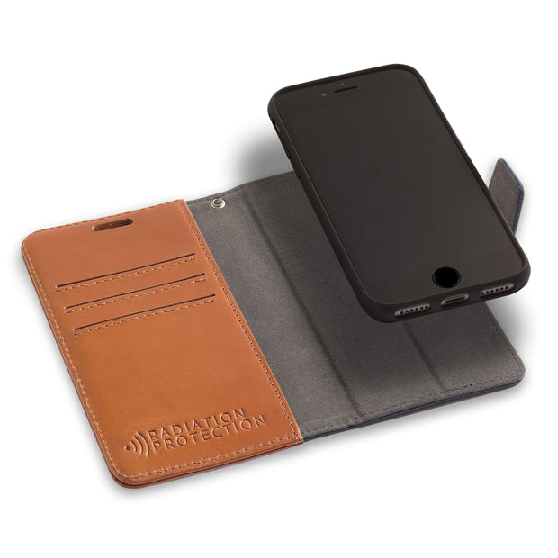Brown iPhone 6, 6s, 7 & 8 Anti-Radiation Wallet Case