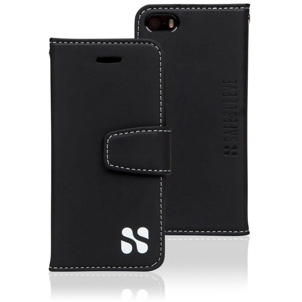 black iPhone SE, 5, and 5s anti-radiation wallet case
