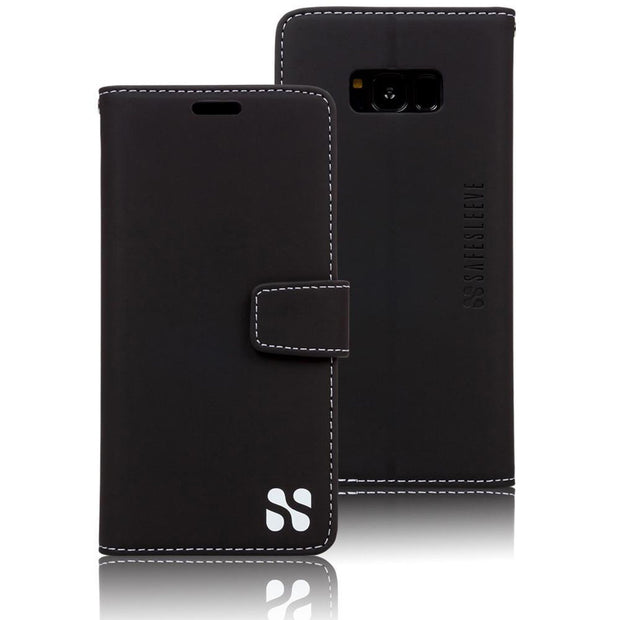 black Samsung Galaxy S8 anti-radiation and RFID blocking wallet case
