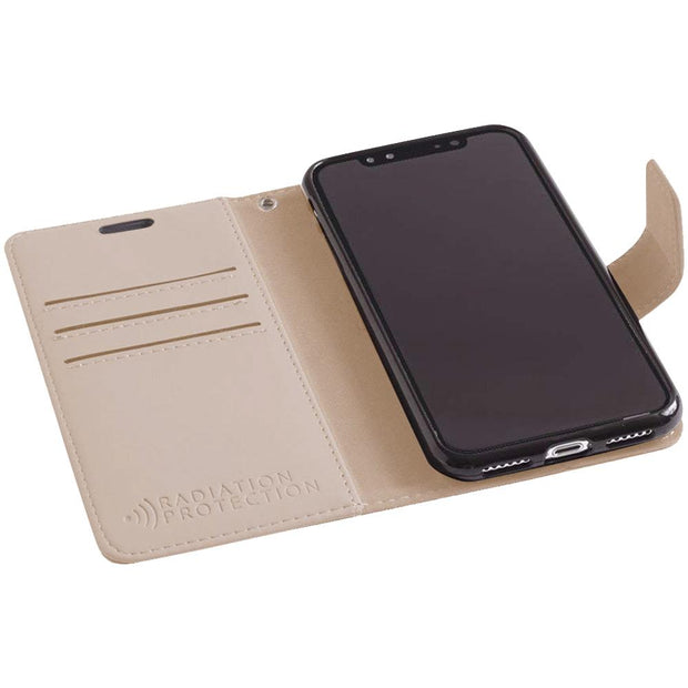 beige iPhone Xs Max (10s Max) anti-radiation and RFID blocking wallet case