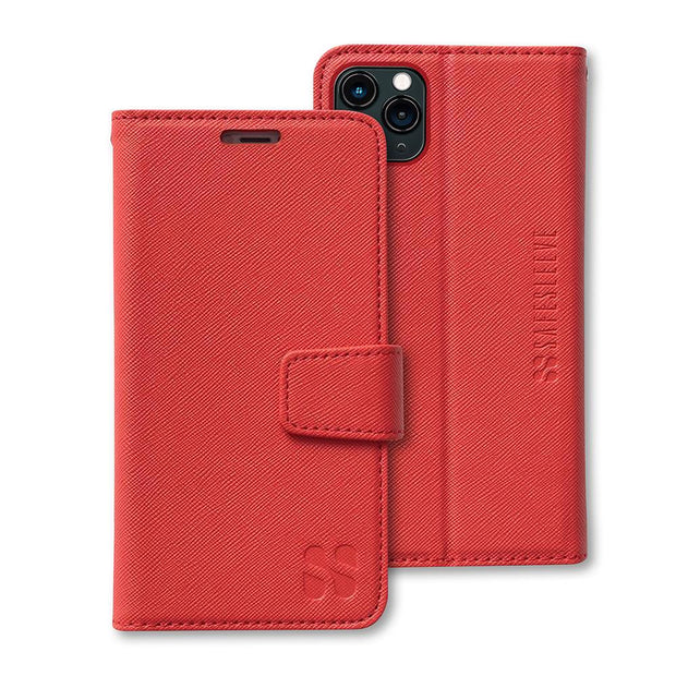 Red RFID blocking iPhone 11 Pro MAX Wallet Case