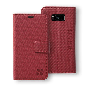 Red Samsung Galaxy S8 Anti-Radiation and RFID Blocking Detachable Wallet Case