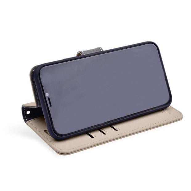 Tan RFID blocking iPhone XR wallet with convertible stand