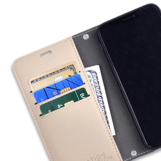 Tan iPhone 11 RFID blocking Wallet Case