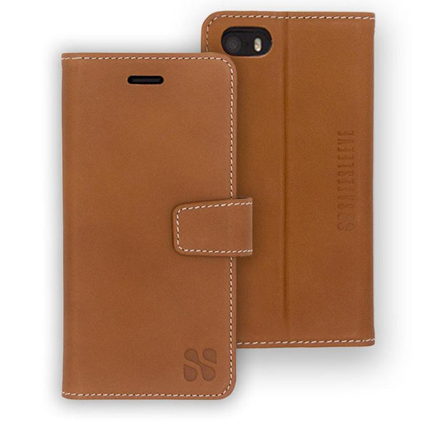 light brown iPhone SE, 5, and 5s anti-radiation wallet case