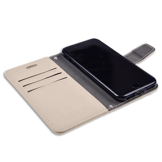 beige iPhone 6/6s, 7 & 8 RFID blocking wallet case