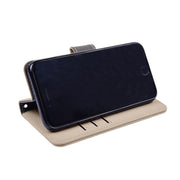 Tan RFID blocking wallet with convertible stand