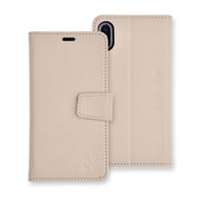 beige iPhone XR (10 R) anti-radiation and RFID blocking wallet case