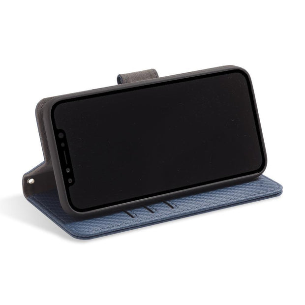 Blue RFID blocking wallet with convertible stand