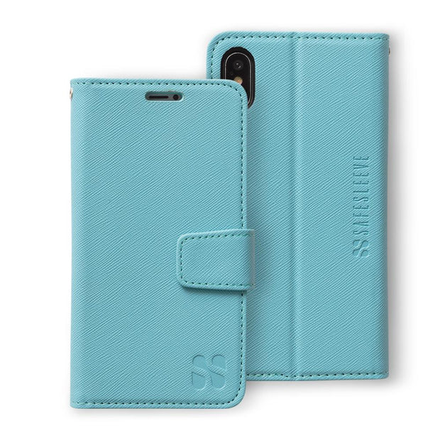 turquoise iPhone X/Xs (10/10s) anti-radiation wallet case