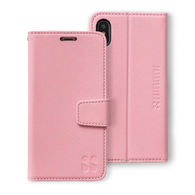 pink iPhone X/Xs (10/10s) anti-radiation and RFID blocking wallet case