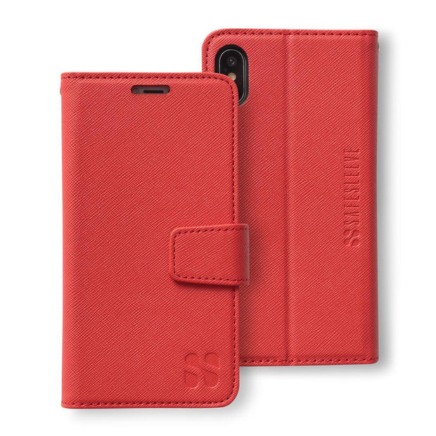 red RFID blocking wallet case for the iPhone Xs Max (10s Max)