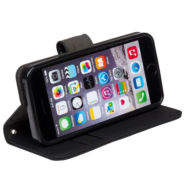 iPhone SE, 5, and 5s RFID blocking wallet with stand