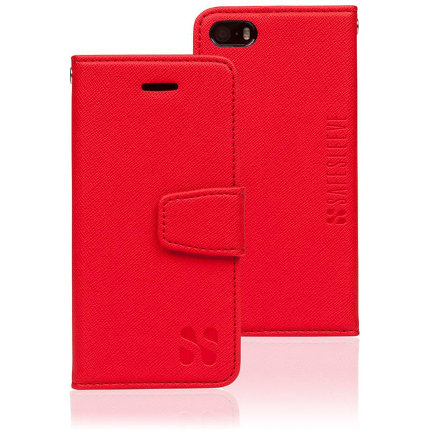 red iPhone SE, 5, and 5s anti-radiation and RFID Blocking wallet case