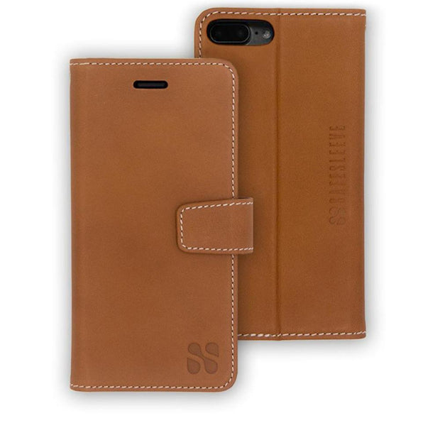 brown anti-radiation and RFID blocking iPhone 6 Plus, 7 Plus & 8 Plus Wallet Case