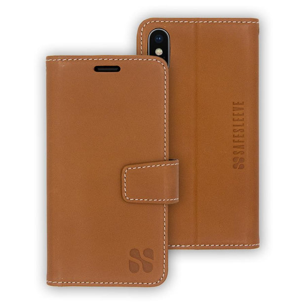 brown  anti-radiation and RFID blocking wallet case for iPhone Xs Max (10s Max)