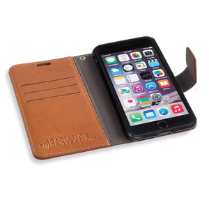 brown RFID Blocking wallet case for  iPhone 6 Plus, 7 Plus & 8 Plus