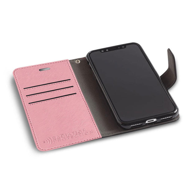 pink anti-radiation and RFID blocking wallet case for the iPhone X/Xs
