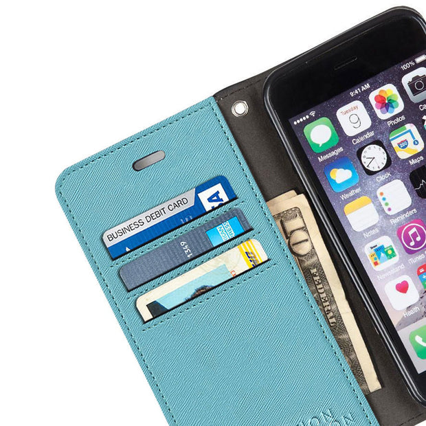 turquoise iPhone 6/6s, 7 & 8 anti-radiation and RFID blocking wallet case