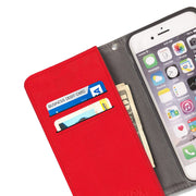 red anti-radiation and RFID Blocking wallet case for iPhone SE, 5, and 5s
