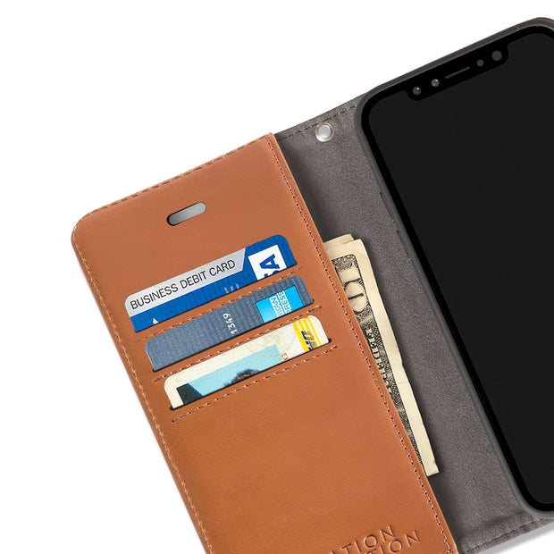 Brown RFID blocking wallet case for iPhone X/Xs (10/10s)