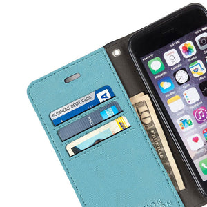 turquoise anti-radiation iPhone 6 Plus, 7 Plus & 8 Plus wallet case