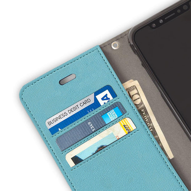 light blue RFID blocking wallet case for the iPhone X/Xs (10/10s)