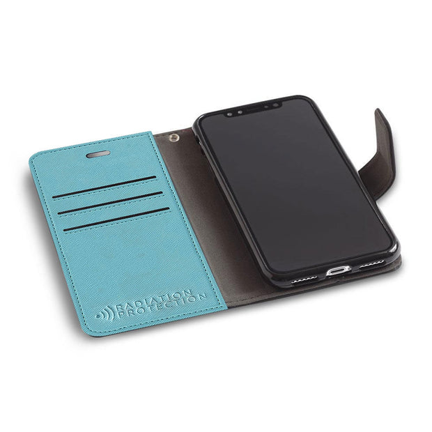 light blue iPhone XR (10 R) anti-radiation wallet case