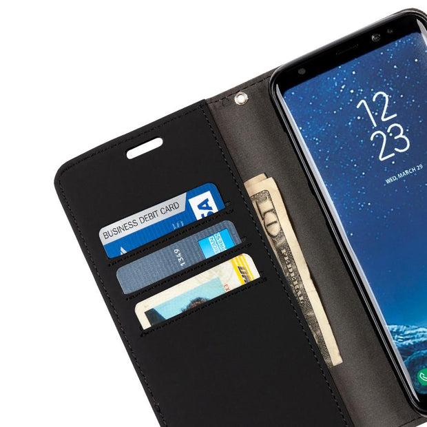 black Samsung Galaxy S8 Plus anti-radiation and RFID blocking wallet case