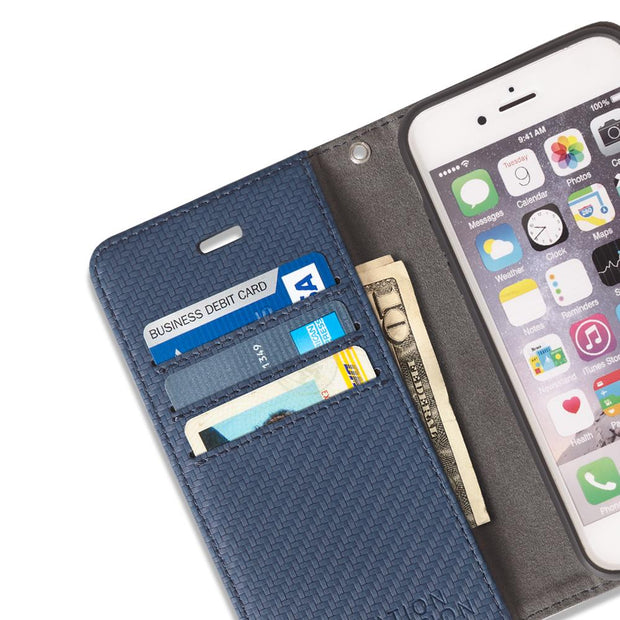 Blue Anti-Radiation Detachable Wallet Case for iPhone SE & 5/5s