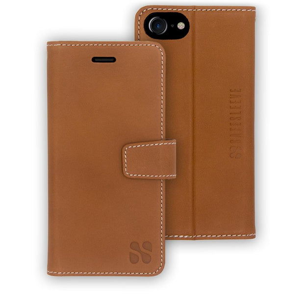 light brown anti-radiation and RFID blocking wallet case for the iPhone 6/6s, 7 & 8
