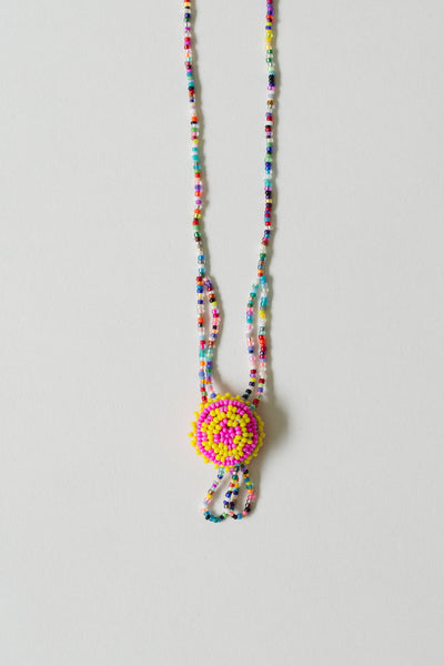 Hand-beaded Necklace Yellow & Pink