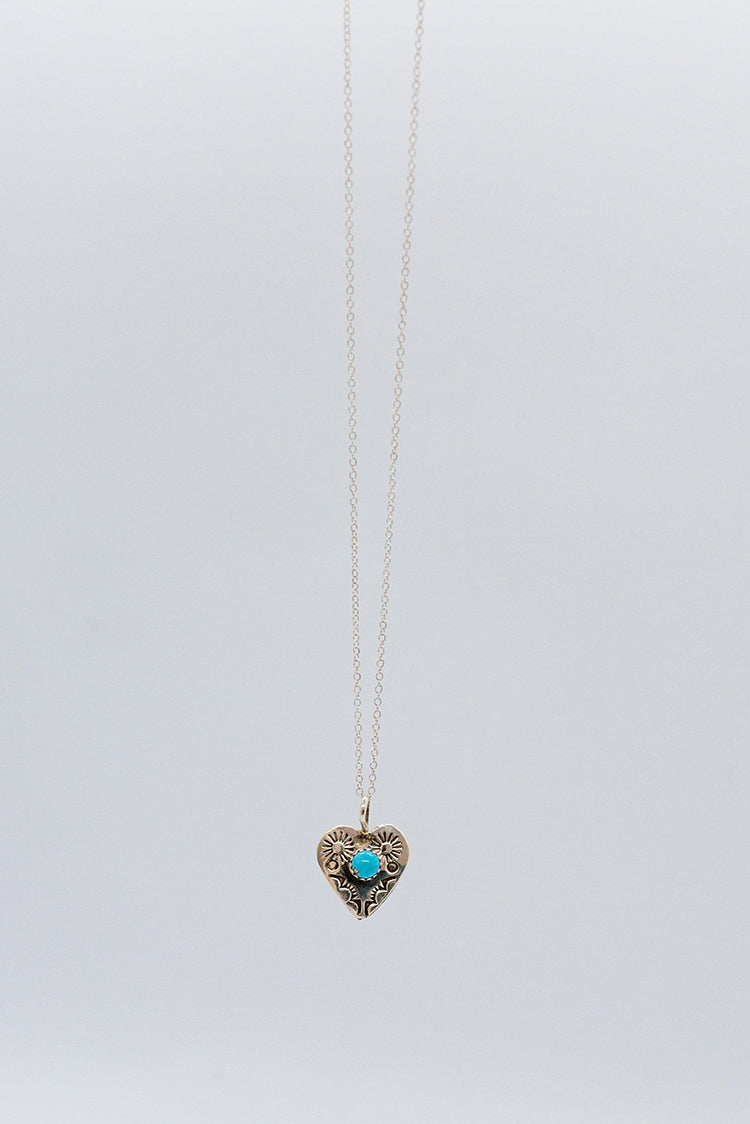 Silver & Turquoise Heart Necklace