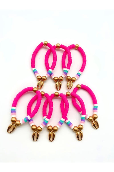 The Roze Boutique x Tessa James Hot Pink Heishi Stretch Bracelet