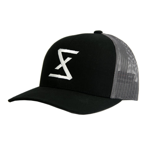 Black | Graphite Trucker Snapback Hat - Saint Florian Clothing