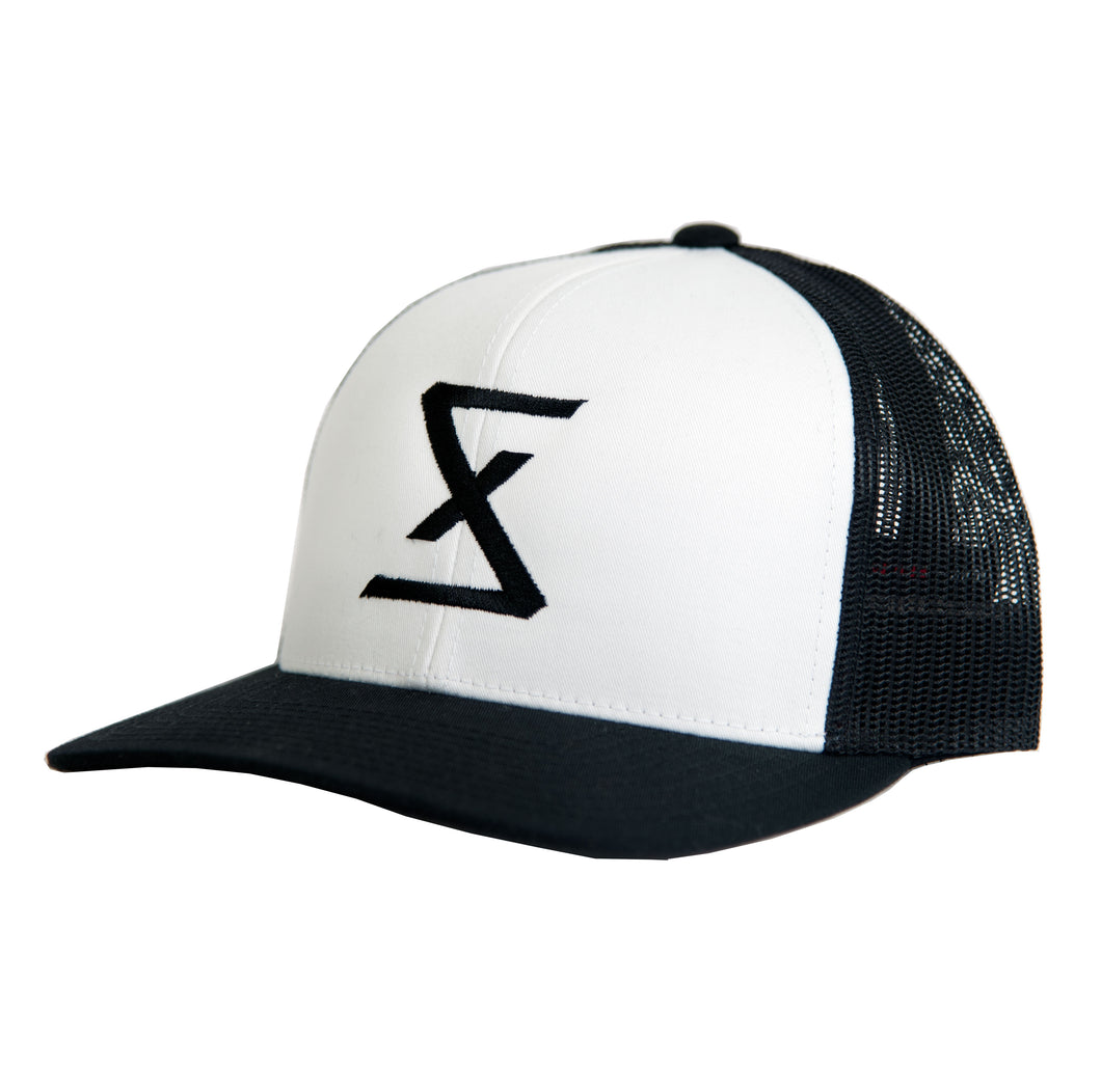 Black | White Trucker Snapback Hat - Saint Florian Clothing