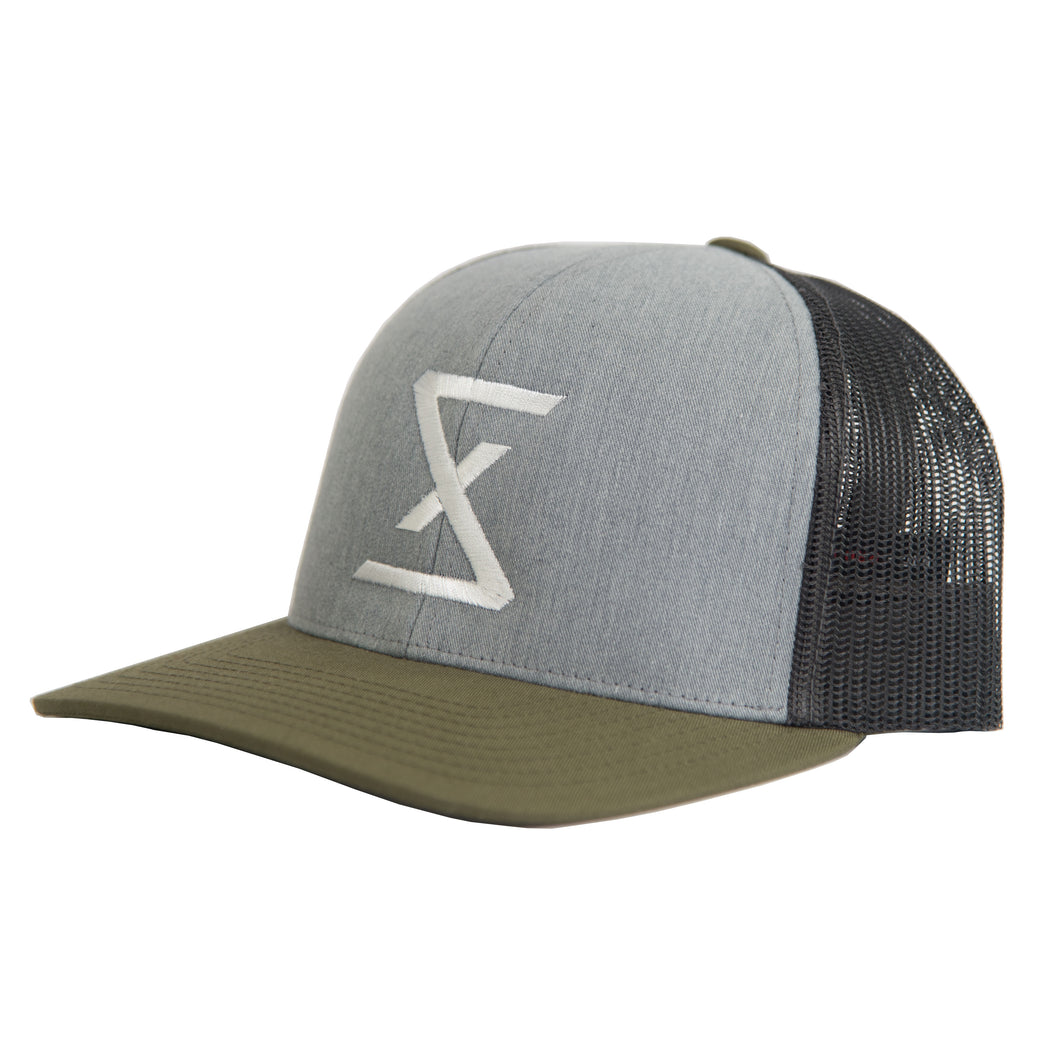Heather Grey | Moss Green Trucker Snapback Hat - Saint Florian Clothing