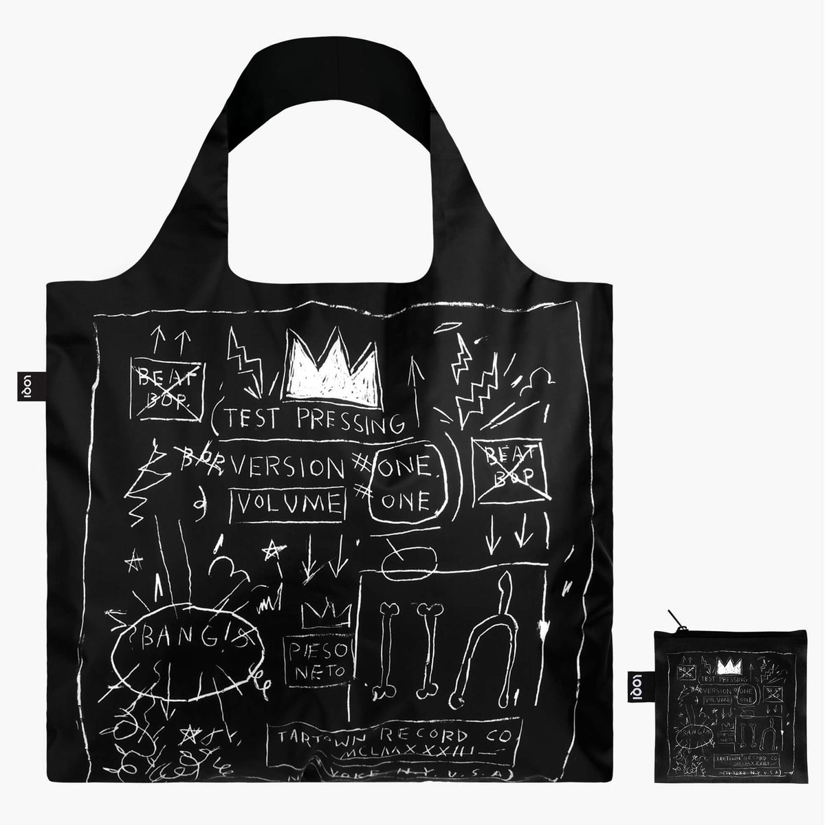 LOQI Jean-Michel Basquiat Crown Bag with Zip Pocket