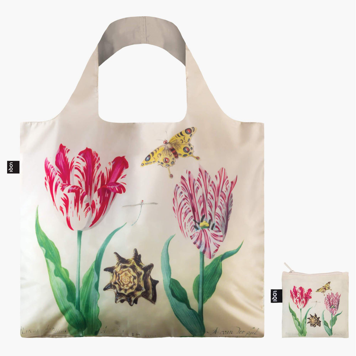 LOQI Jacob MarrelTwo Tulips, 1637-45 & IRMA BOOM DNA 03 Bag Front with Zip Pocket