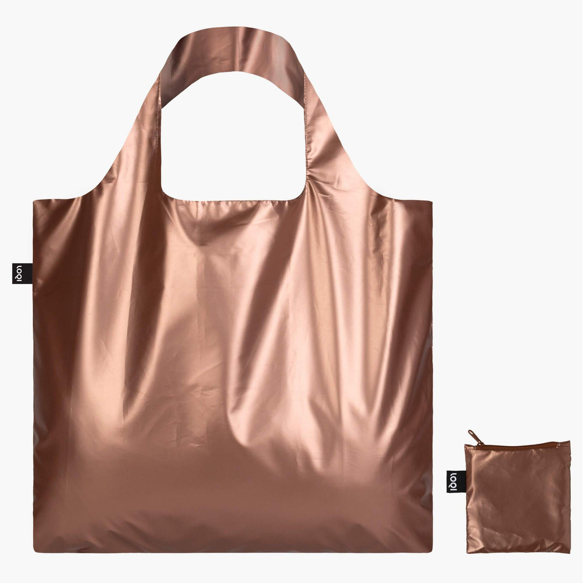 LOQI Metallic Matt Rose Gold Bag with Zip Pocket