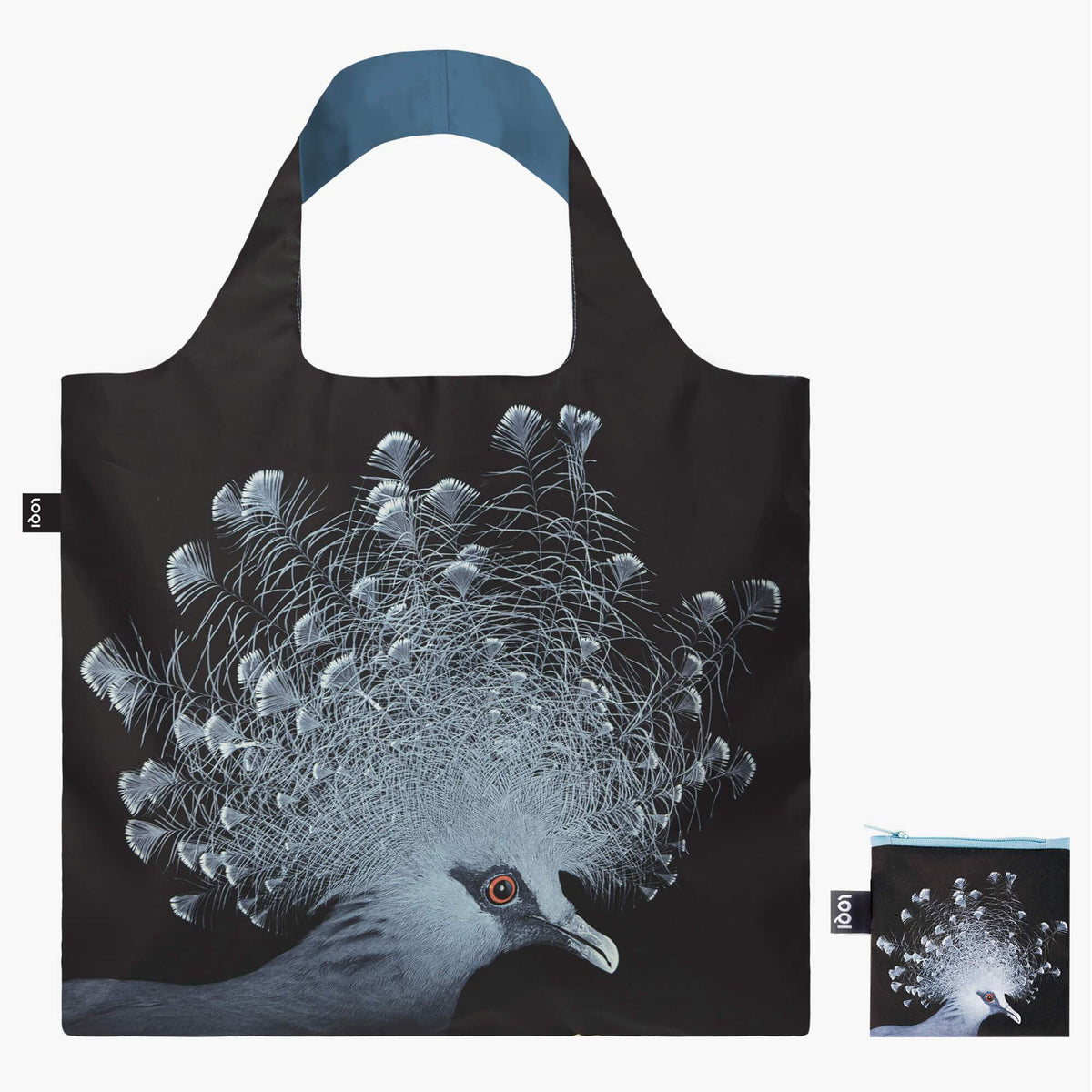 LOQI National Geographic Photo Ark Crowned Pigeon Bag with Zip Pocket