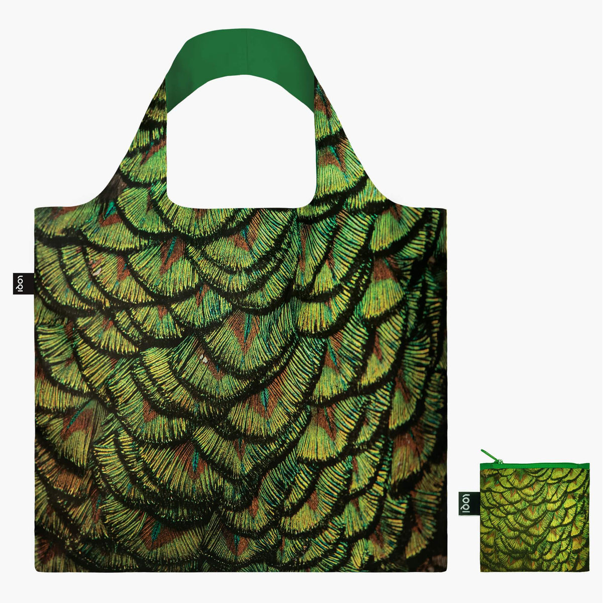 LOQI National Geographic Photo Ark Indian Peafowl Bag with Zip Pocket