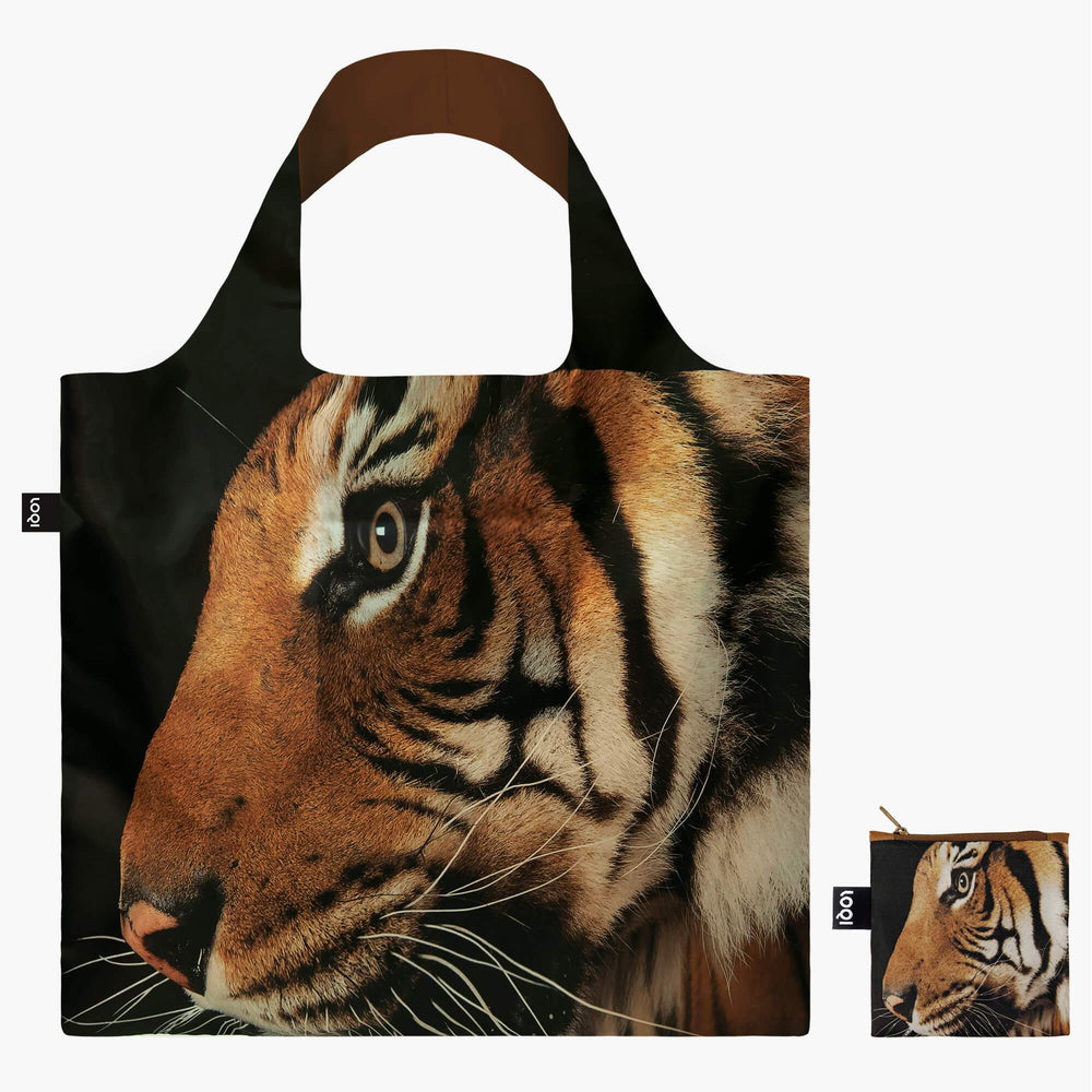 LOQI National Geographic Photo Ark Malayan Tiger Bag with Zip Pocket