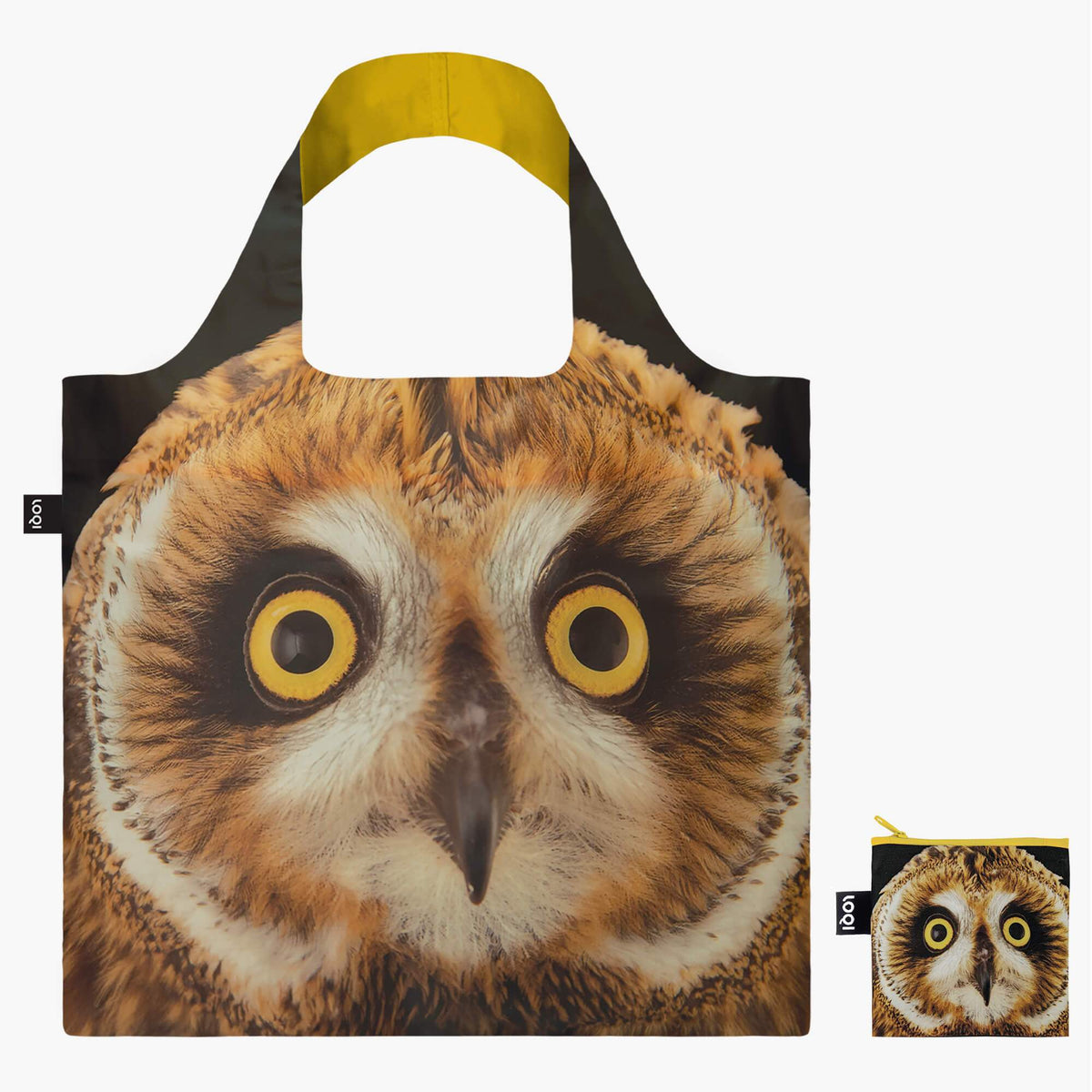 LOQI National Geographic Photo Ark Short-eared Owl Bag with Zip Pocket
