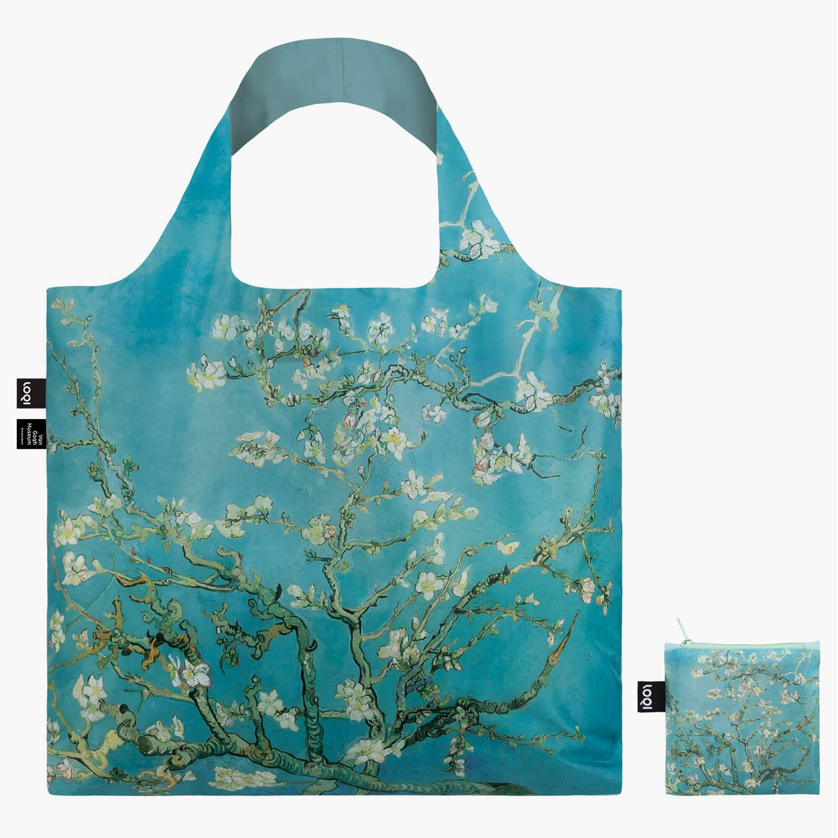 LOQI Vincent van Gogh Almond Blossom Bag Front with Zip Pocket