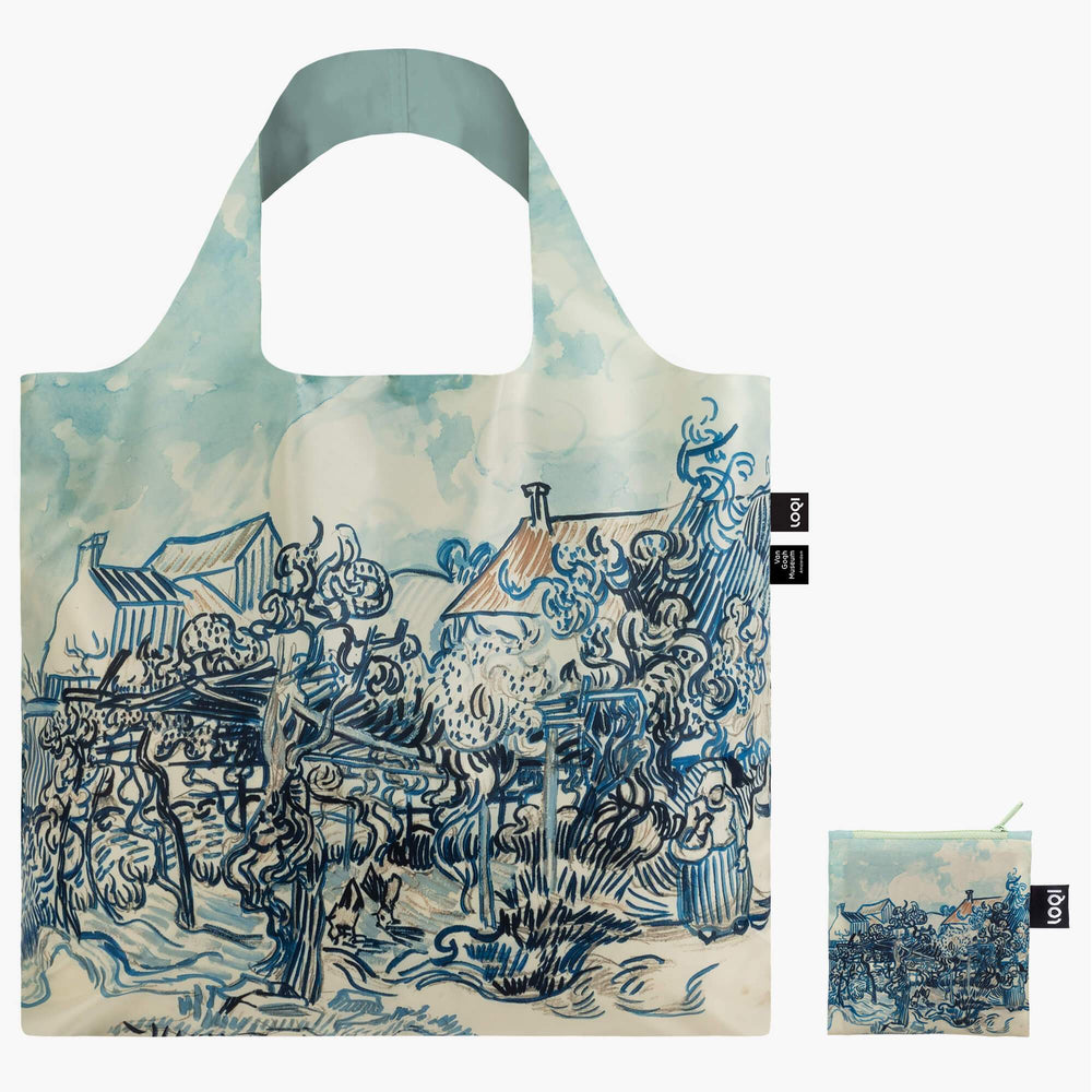 LOQI Vincent van Gogh Old Vineyard and Landscape Bag Back vwith Zip Pocket